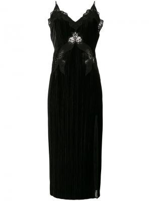 Бархатное платье с кружевной отделкой Jonathan Simkhai. Цвет: чёрный