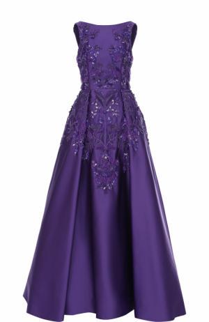 Приталенное платье-макси с декоративной отделкой Zuhair Murad. Цвет: фиолетовый