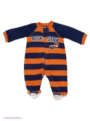 Комбинезон для сна флисовый Бейсбол Little Me. Цвет: синий, оранжевый