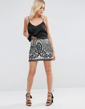 Goldie Сетчатая мини-юбка с отделкой пайетками Rock Boat. Цвет: черный