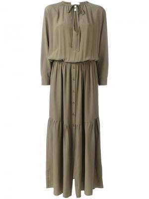 Длинное платье на завязках 8pm. Цвет: зелёный