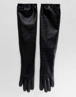 ASOS Длинные перчатки из искусственной кожи. Цвет: черный