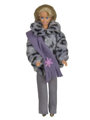 Комплект для куклы 29 см: полушубок, брюки и шарфик Модница.. Цвет: серый