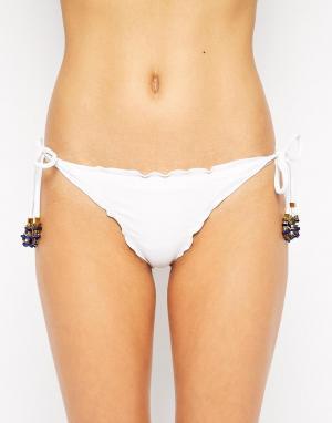 Vix Однотонные бразильские плавки-бикини с завязками сбоку. Цвет: белый