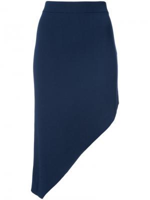 Асимметричная юбка-карандаш Jonathan Simkhai. Цвет: синий