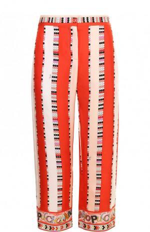 Укороченные шелковые брюки с принтом Emilio Pucci. Цвет: розовый
