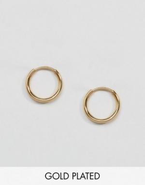 Pilgrim Миниатюрные позолоченные серьги-кольца. Цвет: золотой