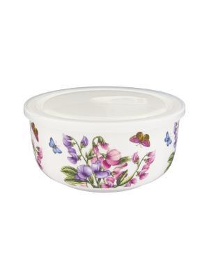 Салатник с пластиковой крышкой Душистый цветок Elan Gallery. Цвет: белый, сиреневый, розовый