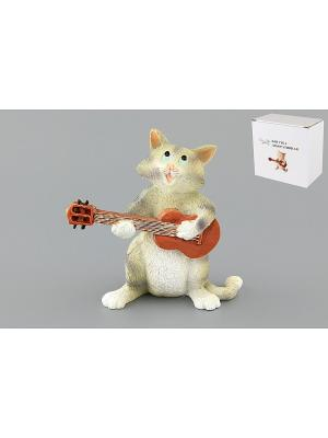 Фигурка декоративная Кот с гитарой Elan Gallery. Цвет: серый, коричневый