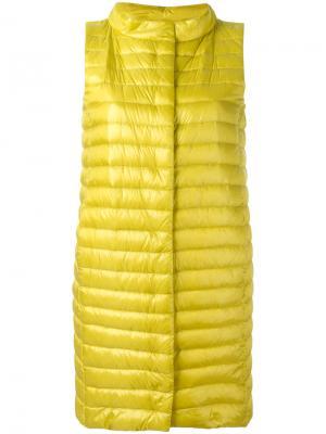Удлиненная жилетка-пуховик Herno. Цвет: жёлтый и оранжевый