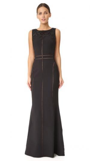 Длинное платье без рукавов из крепа Marchesa Notte. Цвет: голубой