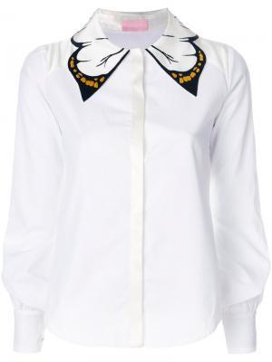 Рубашка с бабочкой на воротнике Giamba. Цвет: белый