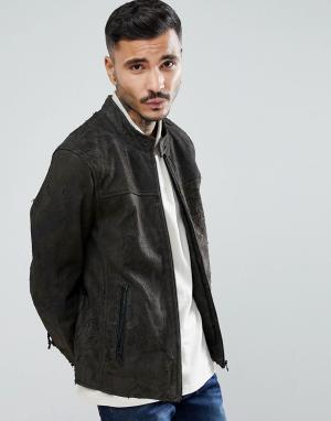 Goosecraft Серая кожаная куртка Austin. Цвет: коричневый