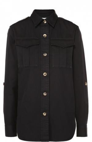 Блуза прямого кроя с накладными карманами и погонами Isabel Marant Etoile. Цвет: черный