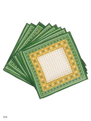 Набор платков носовых мужских Римейн. Цвет: зеленый, желтый, белый