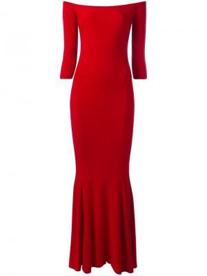 Приталенное платье с открытыми плечами Norma Kamali. Цвет: красный