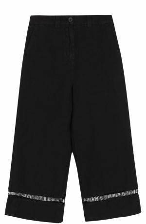 Укороченные льняные брюки с карманами 120% Lino. Цвет: черный