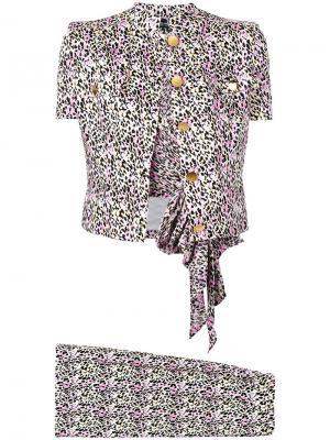 Костюм-тройка в леопардовый принт 1980-х годов выпуска Jean Louis Scherrer Vintage. Цвет: чёрный