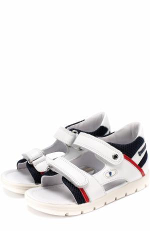 Комбинированные сандалии с застежками велькро Falcotto. Цвет: белый