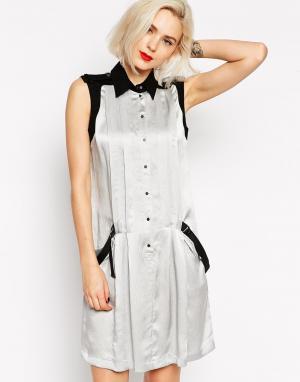 L.A.M.B. Шелковое платье без рукавов с парусиновыми ремешками сзади L.A.M.B