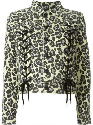 Куртка с леопардовым принтом Sibling. Цвет: жёлтый и оранжевый