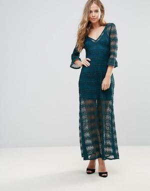 WYLDR Ажурное платье макси с отдельной комбинацией. Цвет: зеленый