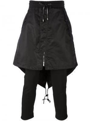 Многослойные объемные брюки D.Gnak. Цвет: чёрный