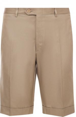 Хлопковые шорты чинос Brioni. Цвет: бежевый