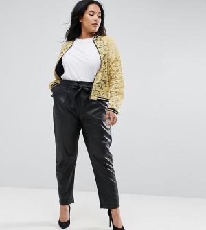 Elvi Черные полиуретановые брюки. Цвет: черный