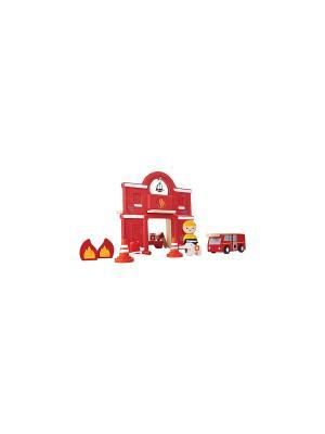 Пожарная станция PLAN TOYS. Цвет: красный