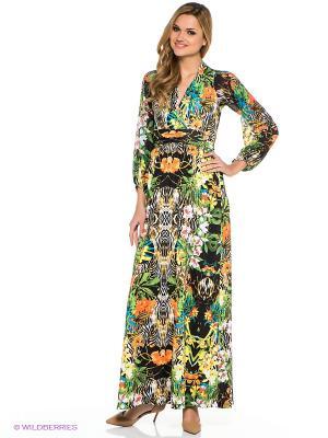 Платье TOPSANDTOPS. Цвет: черный, зеленый, оранжевый, желтый