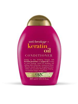 Кондиционер против ломкости волос с кератиновым маслом OGX. Цвет: белый
