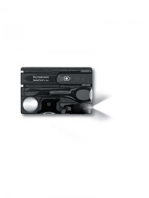 Швейцарская карточка  SwissCard Lite, 13 функций, полупрозрачная чёрная. Victorinox. Цвет: черный