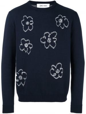 Джемпер с цветочной вышивкой Jimi Roos. Цвет: синий