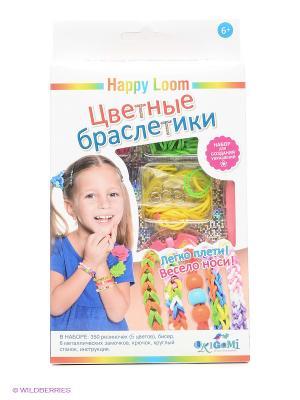 Цветные браслетики. Набор в коробке. Happy Loom. Цвет: голубой, белый, желтый