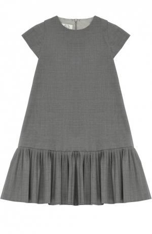 Платье А-силуэта с плиссированной оборкой Caf. Цвет: серый