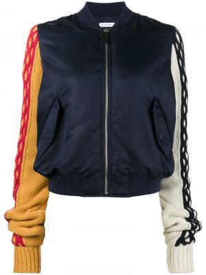 Куртка-бомбер с трикотажными рукавами JW Anderson. Цвет: синий