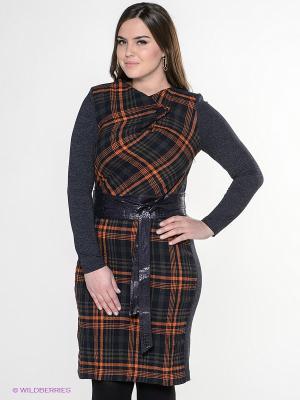 Платье Amelia Lux. Цвет: темно-синий, оранжевый
