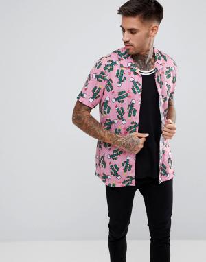LDN DNM Рубашка в новогоднем стиле с короткими рукавами. Цвет: розовый