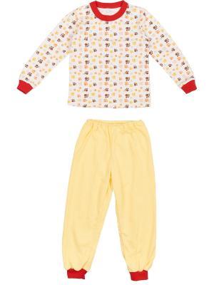 Пижама KIDONLY. Цвет: коричневый, желтый, белый