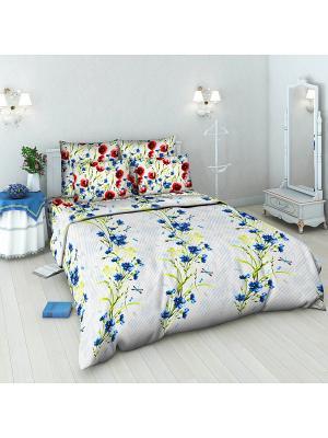 Комплект постельного белья из бязи 2 спальный Василиса. Цвет: голубой, белый, красный