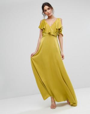 True Violet Платье макси с глубоким вырезом. Цвет: зеленый