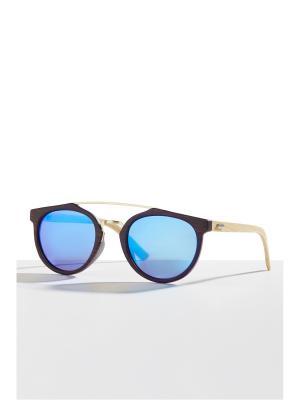 Бамбуковые очки Танзания Nothing but Love. Цвет: темно-коричневый, голубой, светло-желтый