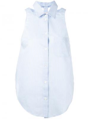 Рубашка в полоску без рукавов Nanushka. Цвет: белый
