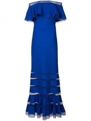Ребристое платье со спущенными рукавами Tadashi Shoji. Цвет: синий