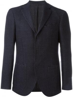 Текстурированный пиджак на три пуговицы Borrelli. Цвет: синий