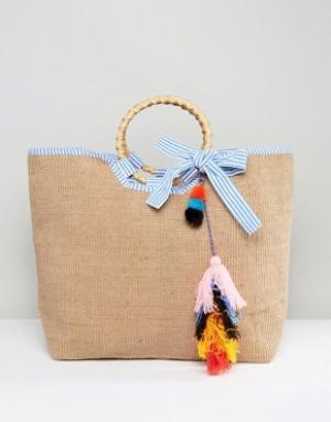 America & Beyond Джутовая сумка с разноцветными кисточками. Цвет: бежевый