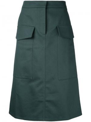 Юбка с накладными карманами Studio Nicholson. Цвет: зелёный