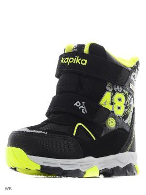 Ботинки Kapika. Цвет: черный, салатовый