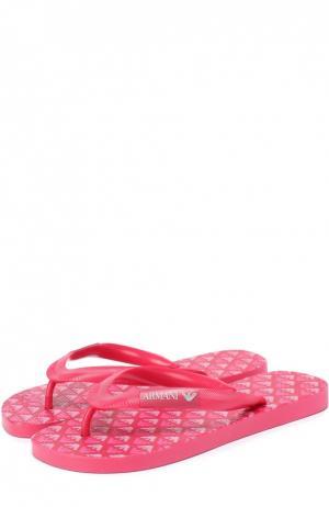 Резиновые шлепанцы с логотипом бренда Giorgio Armani. Цвет: розовый